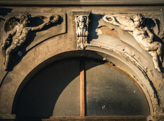 fenêtre, façade, sculpture, Ange, noir et blanc, noir, remise en conformité, blanc, contraste, carie