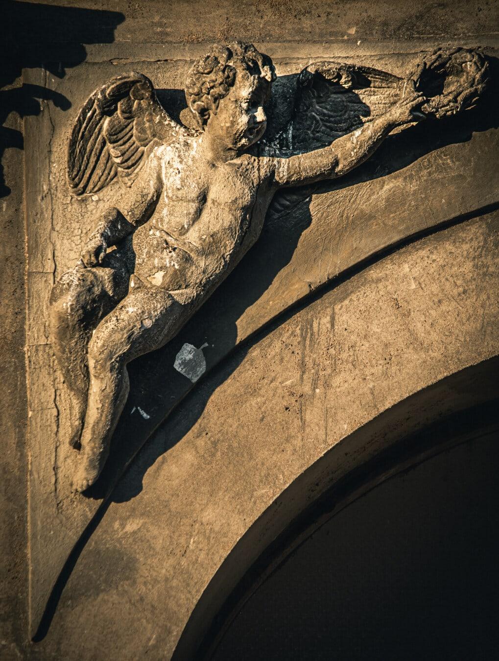 Ange, noir, sombre, sculpture, ailes, enfant, façade, art, statue de, musée