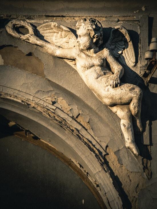 Ange, blanc, enfant, ailes, art, baroque, façade, Renaissance, architecture, sculpture