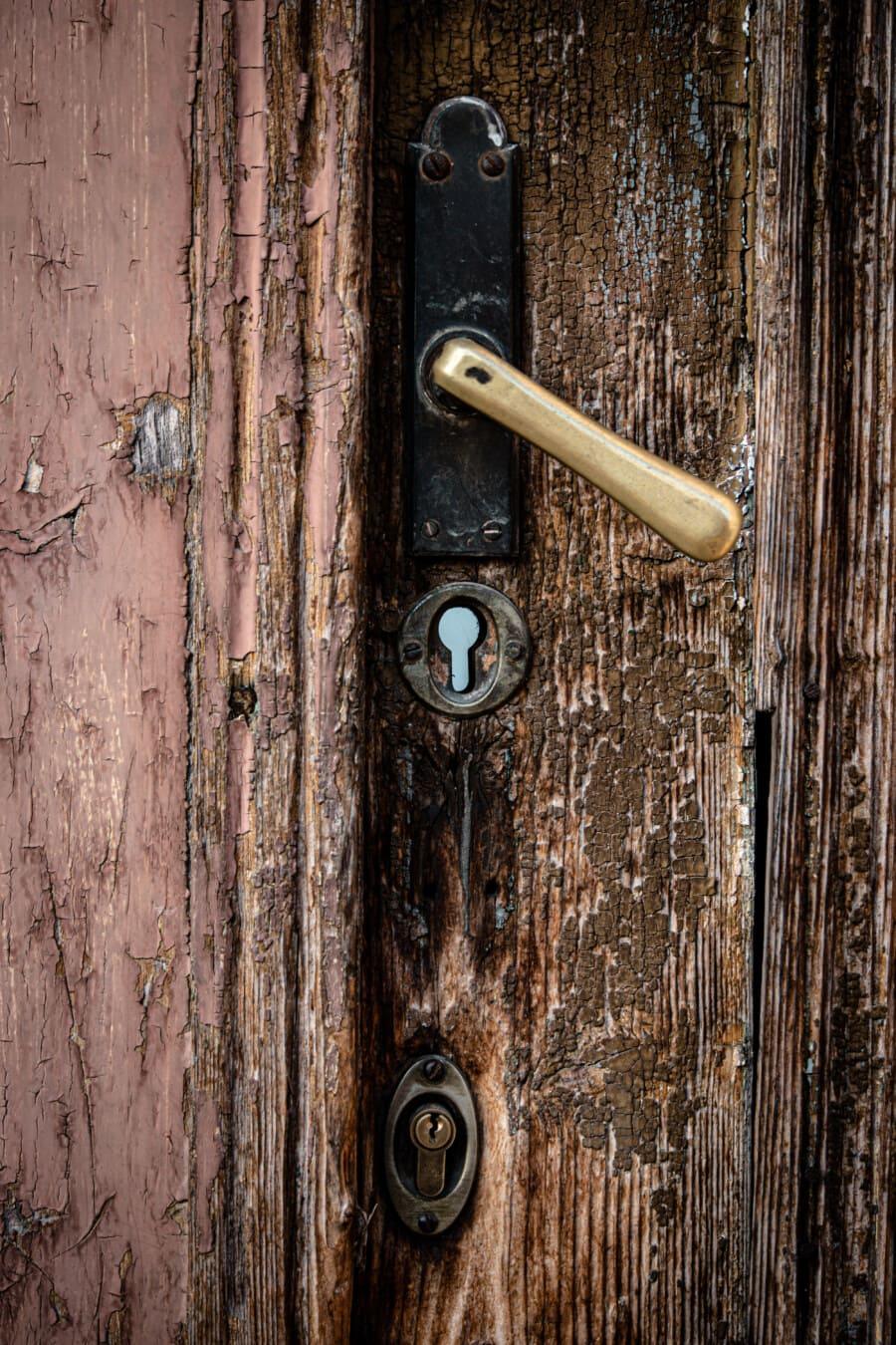 keyhole, front door, decay, derelict, abandoned, entrance, wooden, wood, handle, door