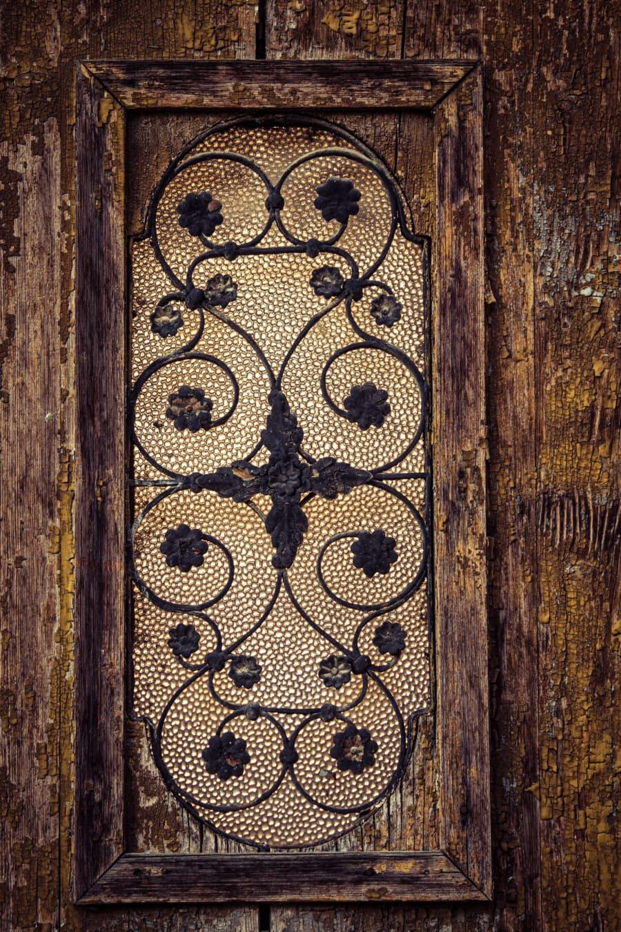 handgefertigte, Frame, aus Holz, Rahmen, Fenster, aus Gusseisen, Glasmalerei, Arabeske, Holz, alt