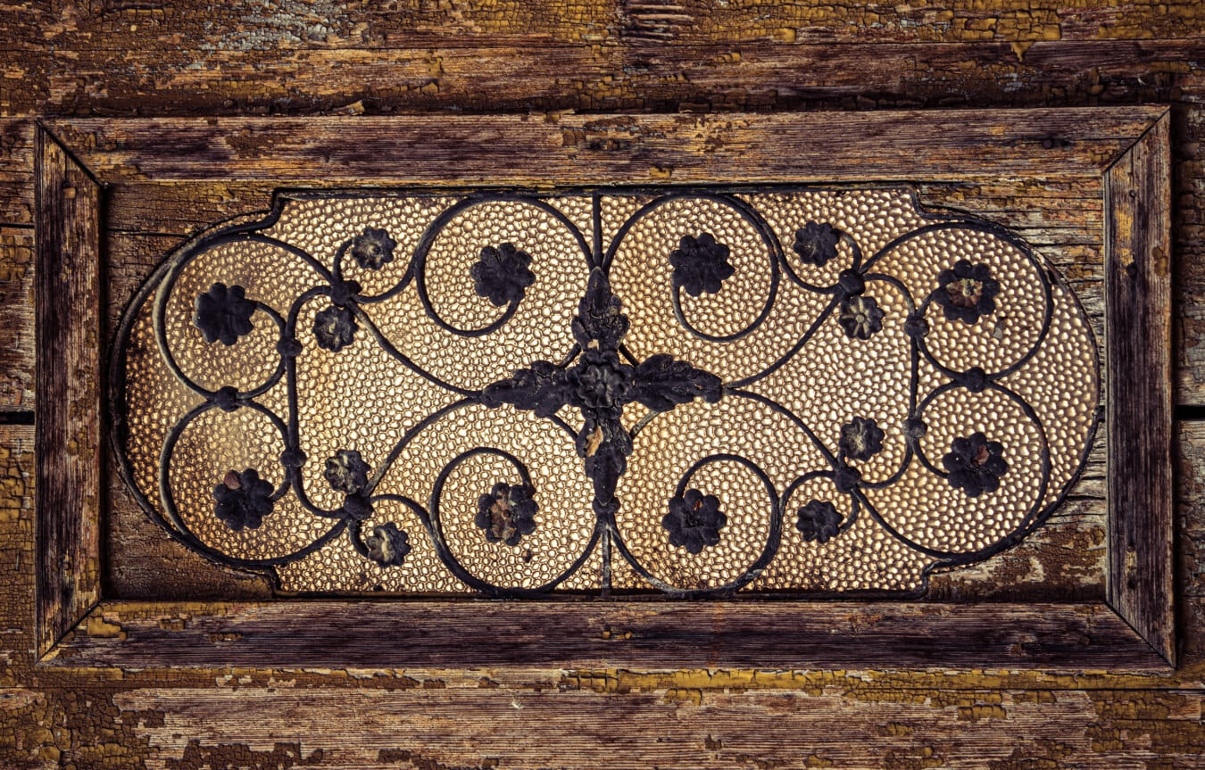 horizontal, window, handmade, cast iron, stained glass, carpentry, vintage, symmetry, decoration, texture