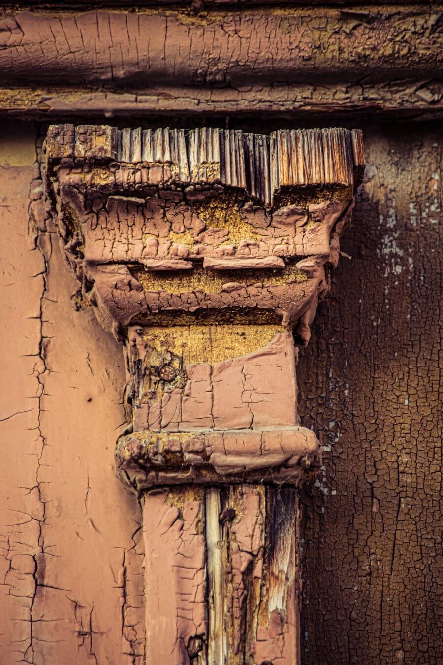 pól, sloupec, dřevěný, malování, staré, tesařství, ročník, ručně vyráběné, špinavý, Retro