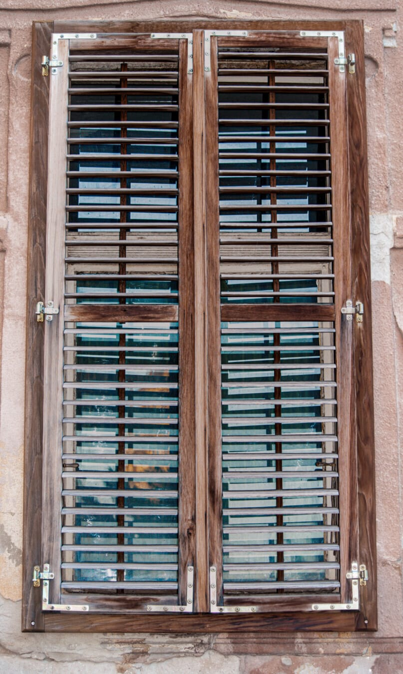 wooden, closed window shutters, close, handmade, old style, architecture, wood, old, house, retro