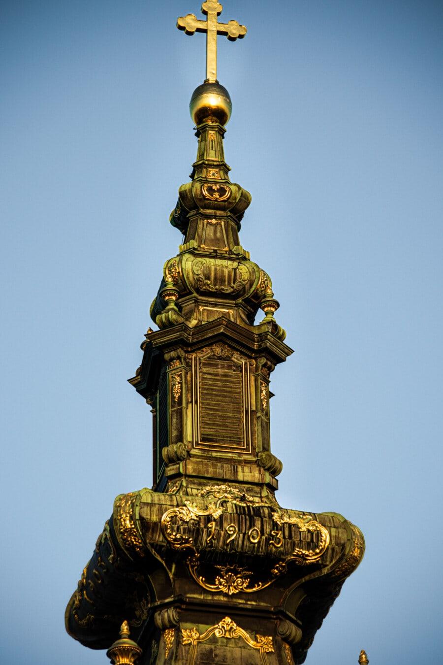 Turnul Bisericii, cruce, aur, stralucitoare, strălucire aurie, ortodoxe, Rusă, biserica, Monumentul, arhitectura