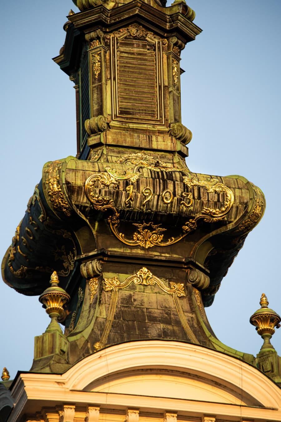 orthodoxe, Kirchturm, Stil, Dekoration, Barock, Arabeske, handgefertigte, Gold, Architektur, Skulptur