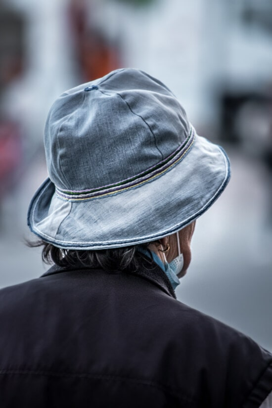 bright, blue, jeans, denim, hat, old style, casual, classic, woman, city