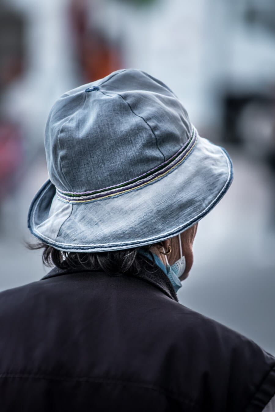 brillant, bleu, Jeans, denim, chapeau, style ancien, décontractée, classique, femme, Ville