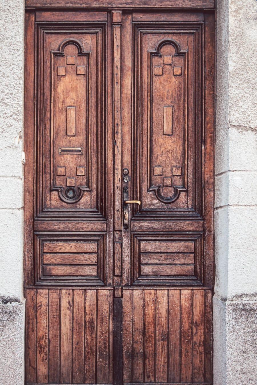 entrance, front door, carpentry, handmade, symmetry, door, old, doorway, wood, wooden