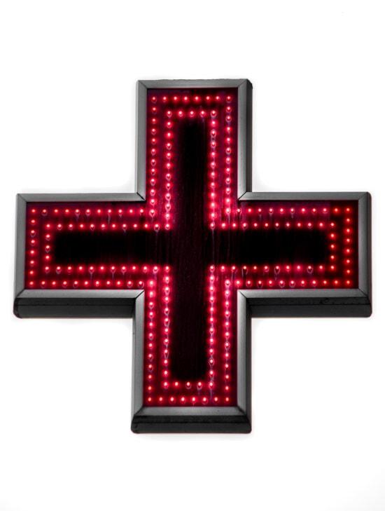 sign, cross, red, neon, pharmacy, symbol, illumination, lumen, luminescence, light