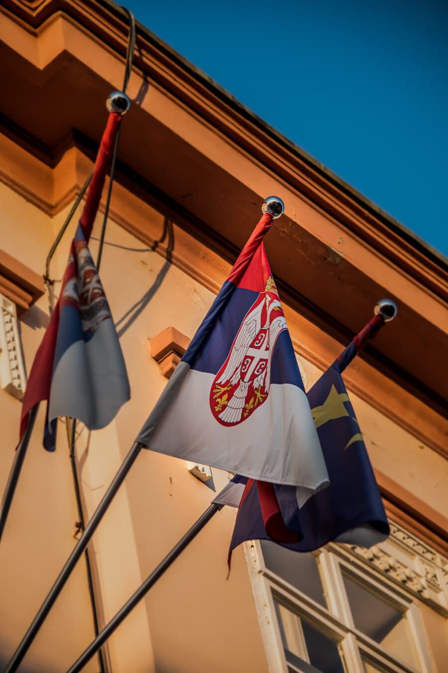 Wand, Parlament, Residenz, Flagge, Europa, Serbien, Demokratie, Demokratische Republik, Stadt, Straße