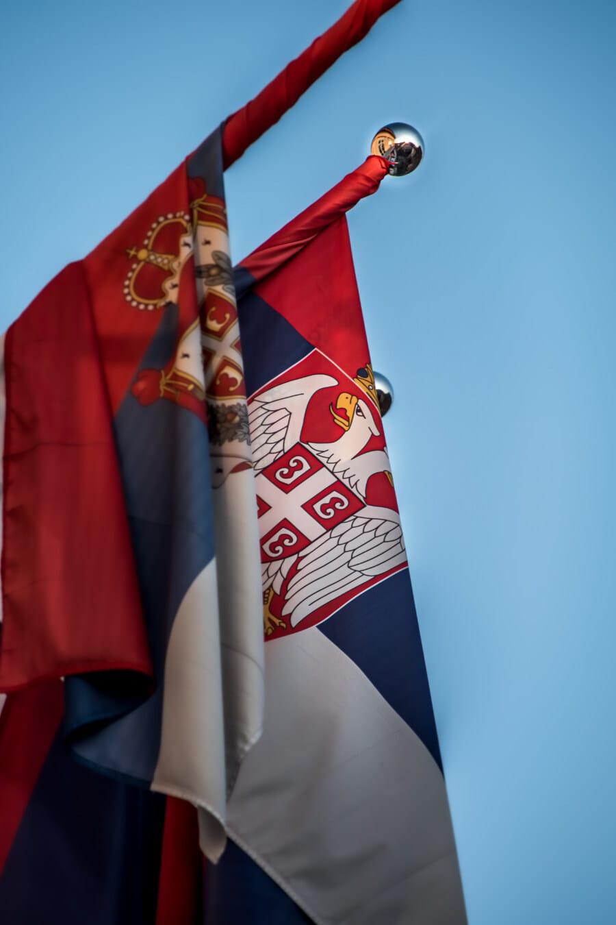 democracy, democratic republic, Serbia, flag, eagle, crown, heraldry, emblem, patriotism, wind