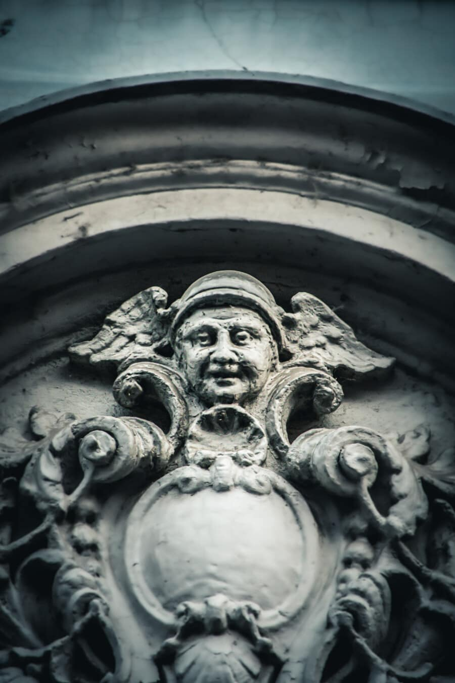 Skulptur, Wand, Barock, Relief, Arch, Flügel, Helm, Kopf, Statue, Antike