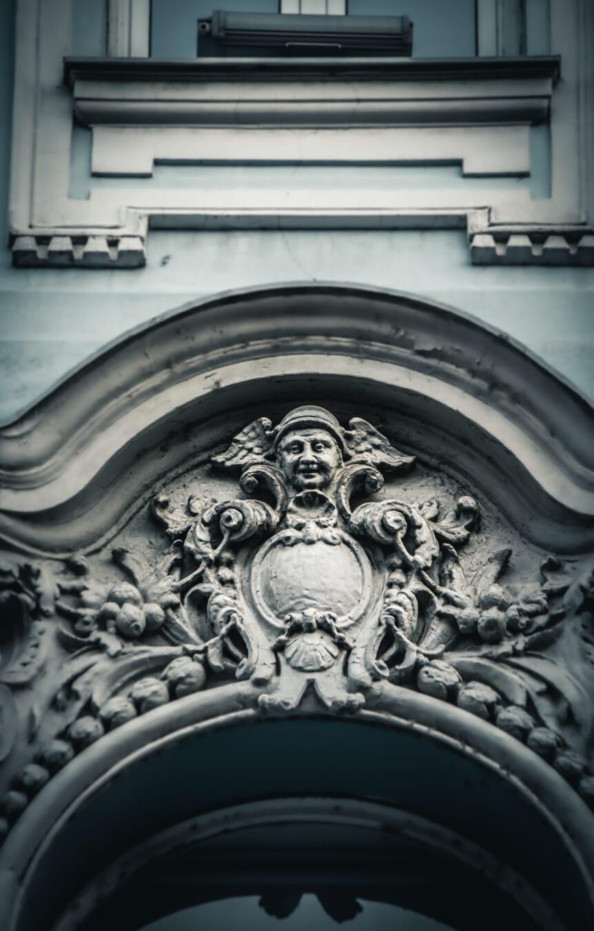 unique, baroque, style architectural, arabesque, arch, façade, fait main, portrait, ornement, tête