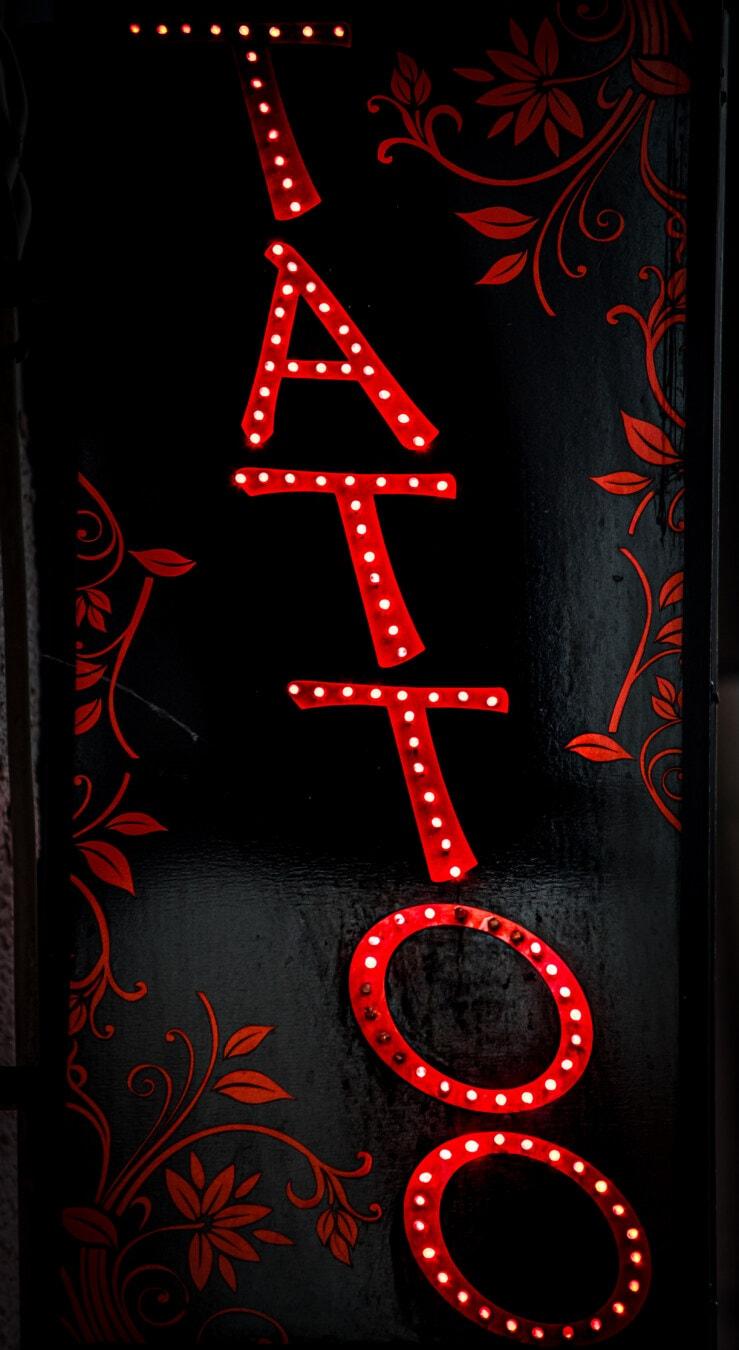 signe, tatouage, diode, Néon, lumière, texte, rouge foncé, La publicité, commercialisation, typographie