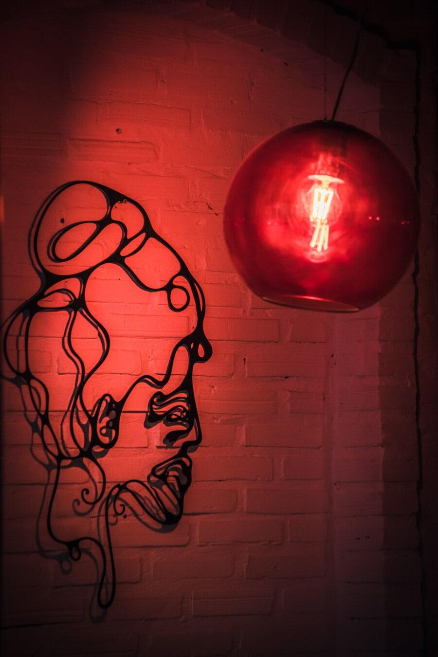 mur, design d'intérieur, décoration d'intérieur, fer de fonte, sculpture, lustre, artistique, lampe, ampoule, retro