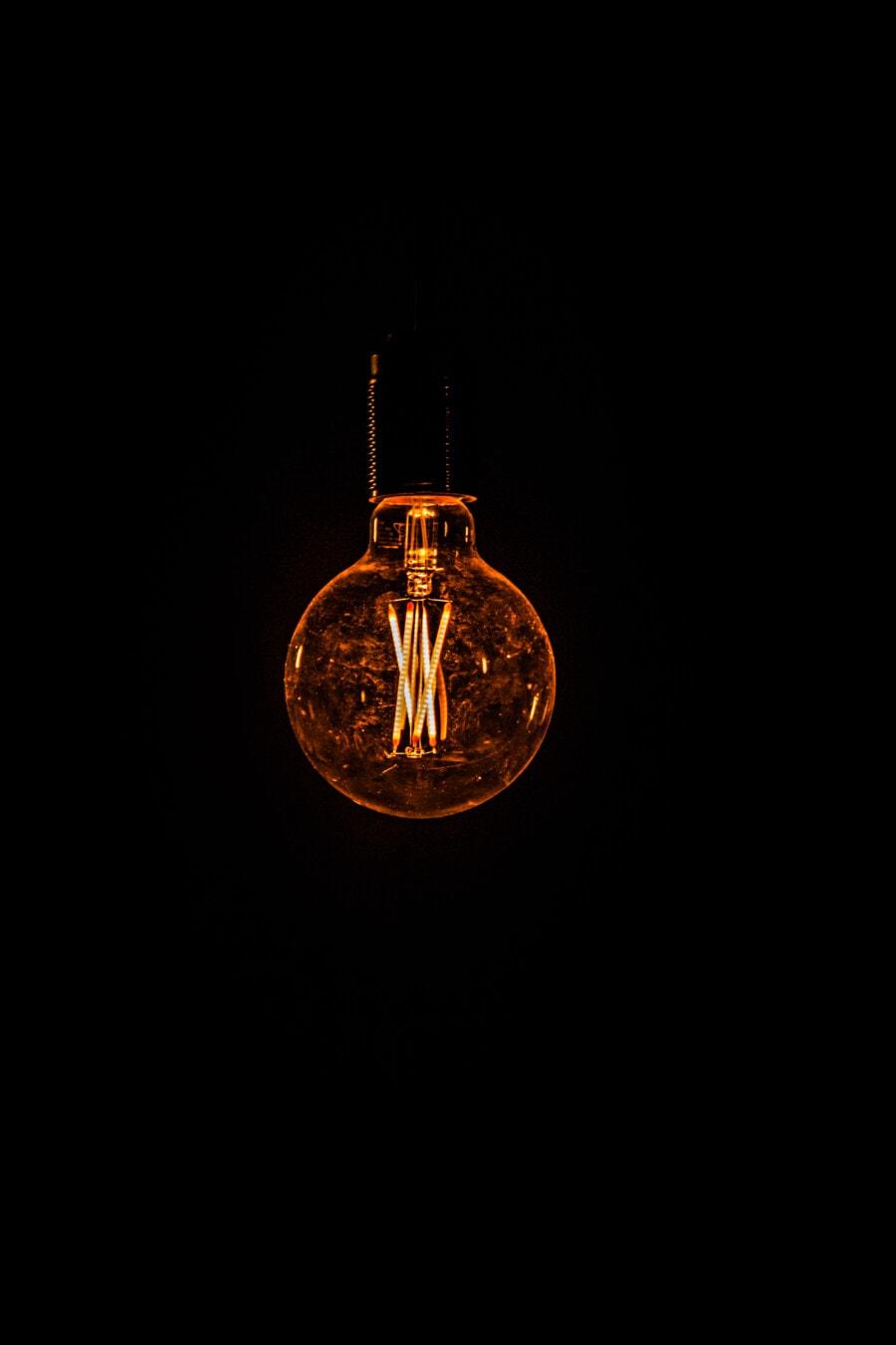 ötlet, villanykörte, tudomány, sötét, háttér, drót, üveg, fény, világító, világos