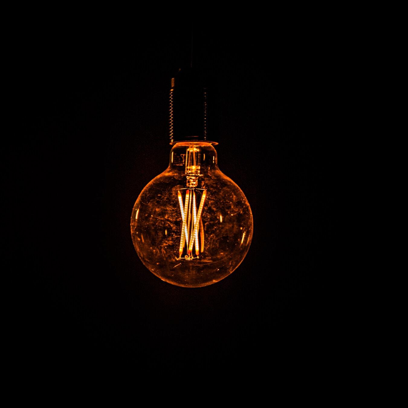 バック グラウンド, ブラック, 電球, 歴史的です, 光, オレンジ黄色, 電球, ランプ, メカニズム, 照らされました。