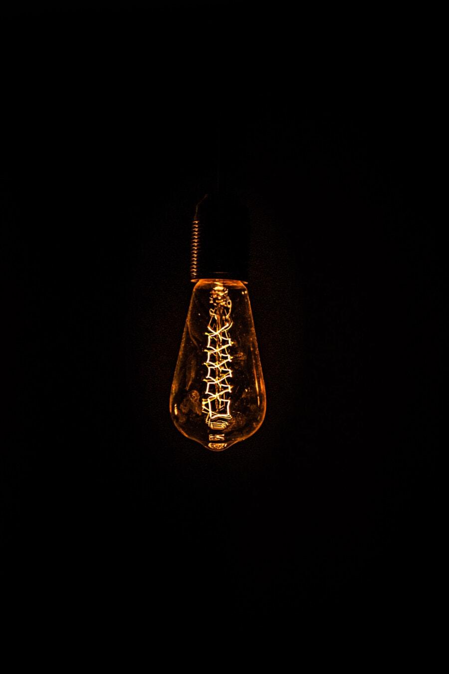 light bulb, vintage, energy, darkness, lumen, wires, filament, dark, art, reflection