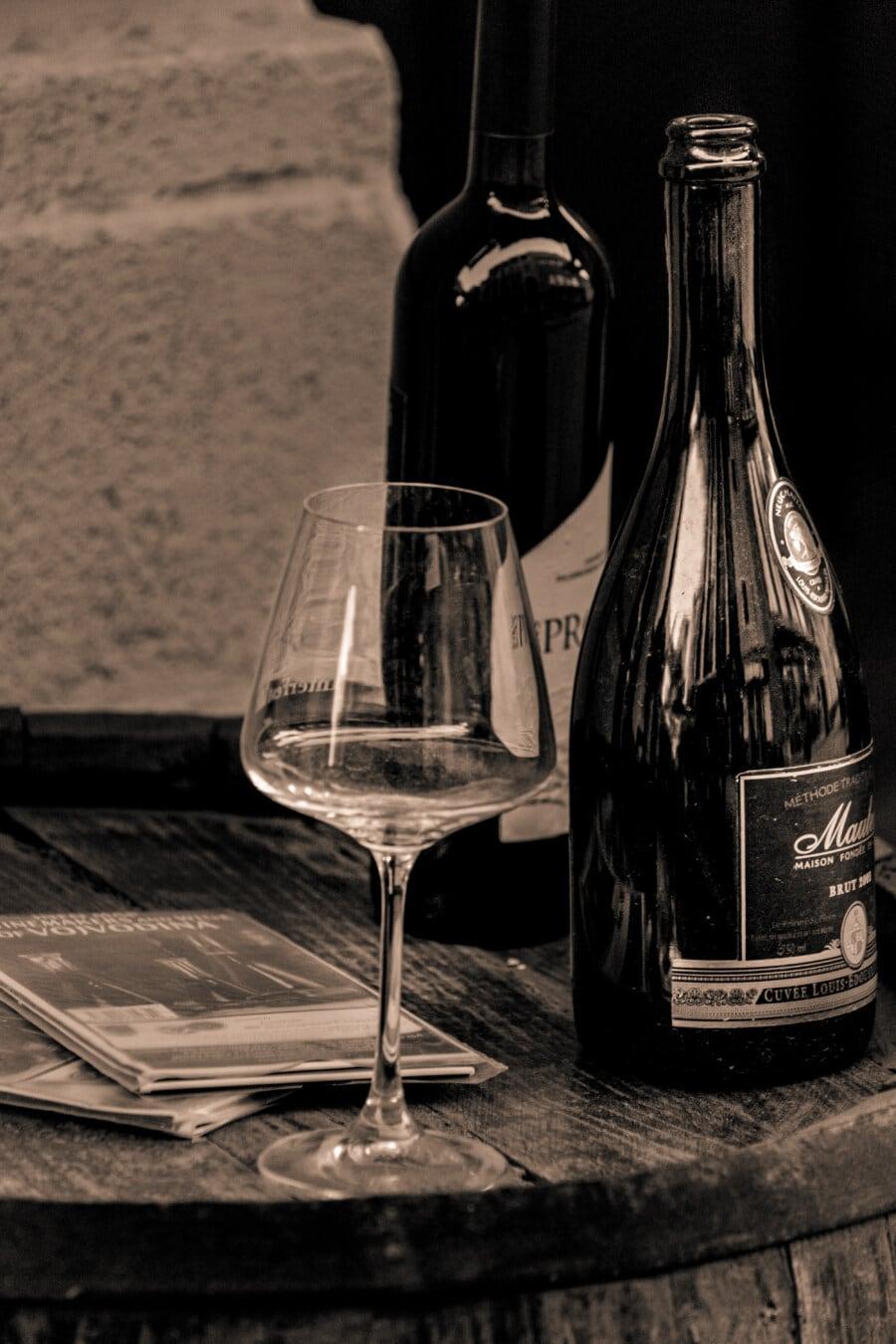 Flasche, Rotwein, Kristall, Glas, Weingut, Fass, Nostalgie, Getränke, Wein, Still-Leben