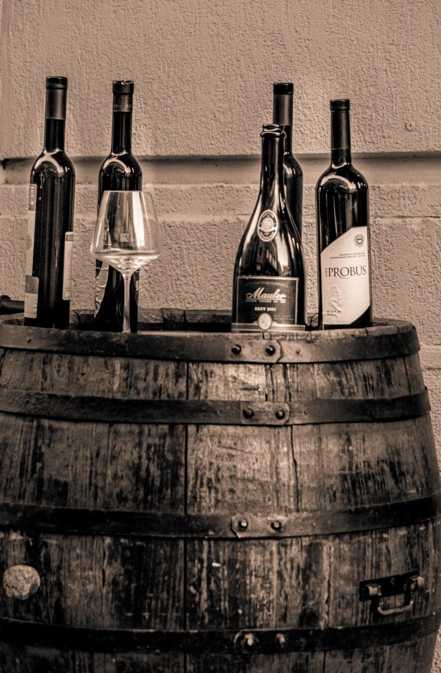 Weingut, Rotwein, Glas, Wein, Kristall, Fass, Trinken, Keller, Flasche, Jahrgang