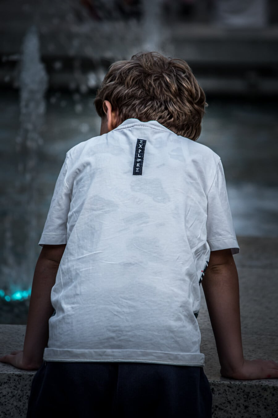 boy, child, fountain, looking, shirt, street, person, portrait, young, outdoors