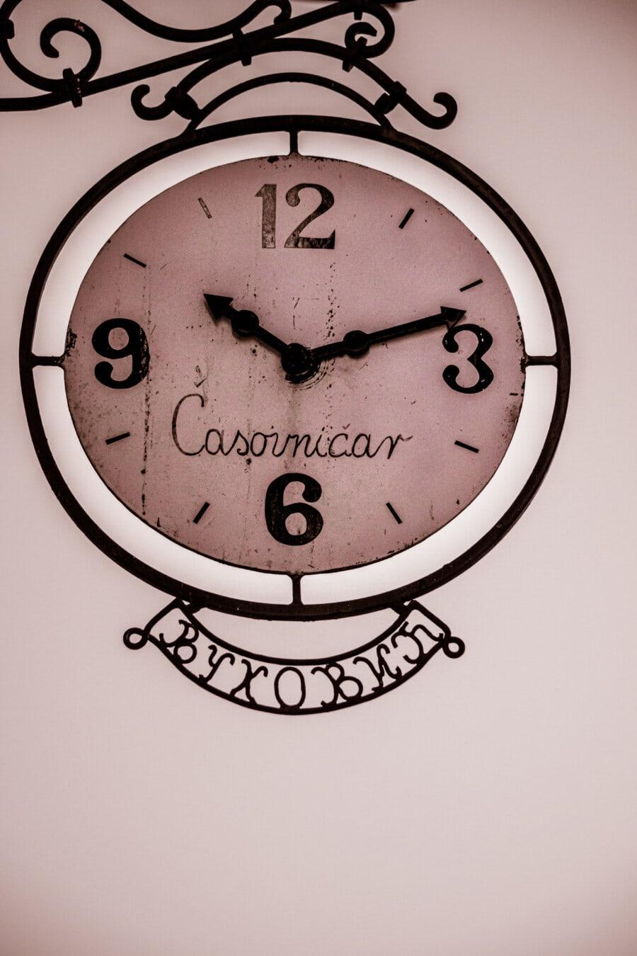 vintage, cast iron, analog clock, handmade, number, sepia, monochrome, rust, round, minute