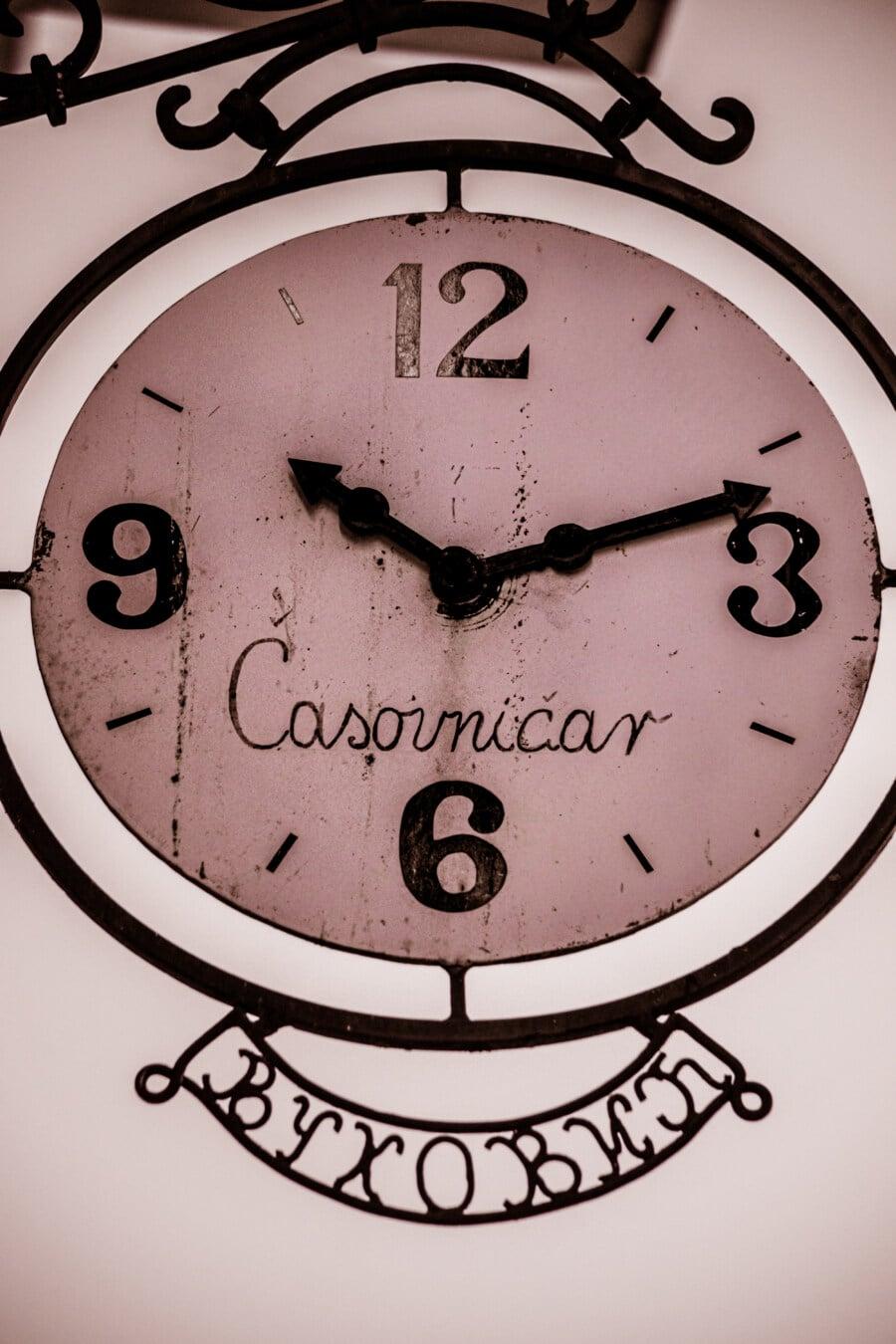 vintage, fer de fonte, horloge analogique, fait main, sépia, nostalgie, noir et blanc, temps, analogue, horloge