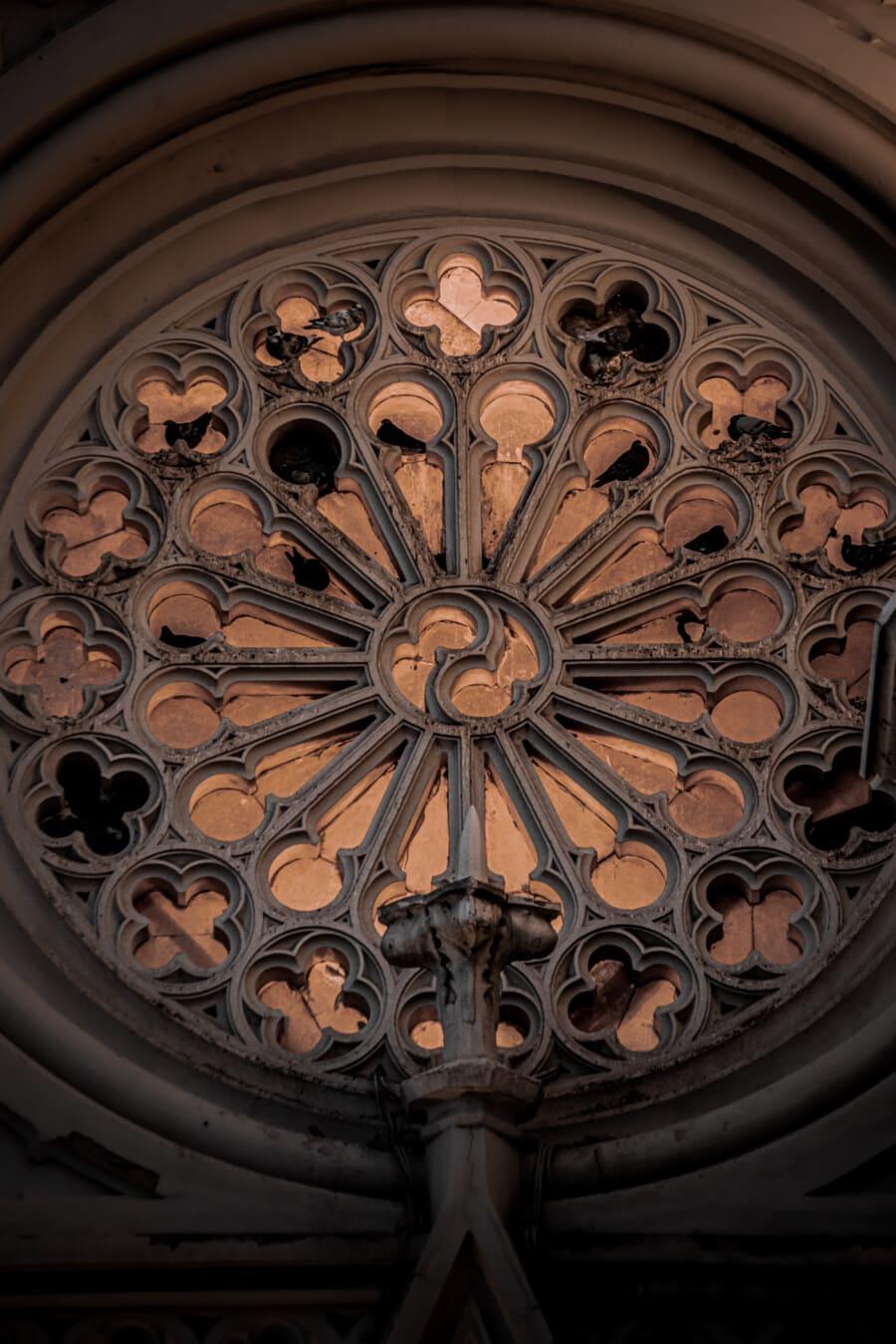 fenetres, tour, arabesque, gothique, style, église, fenêtre, cadre, vieux, art