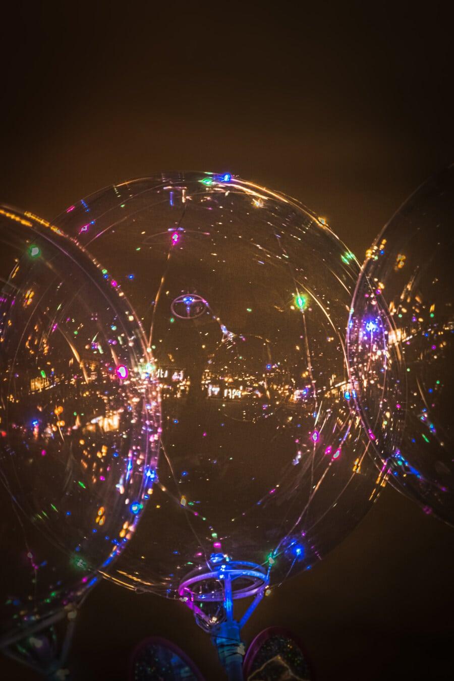 bunte, transparente, Spielzeug, Lichter, Beleuchtung, Ballon, Nacht, Laser, Licht, hell