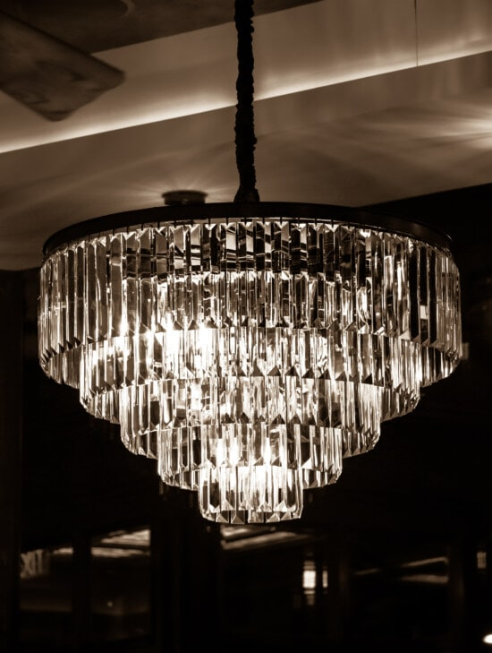 big, crystal, chandelier, shape, classic, round, sepia, reflection, glass, black and white