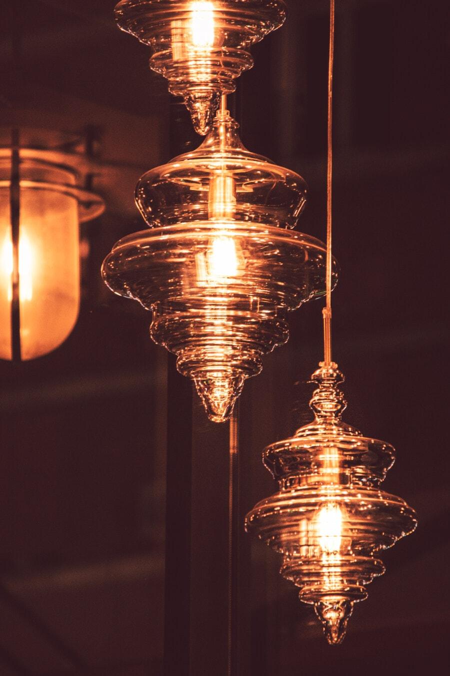 shape, modern, chandelier, flare, glossy, crystal, glass, lamp, light, lantern