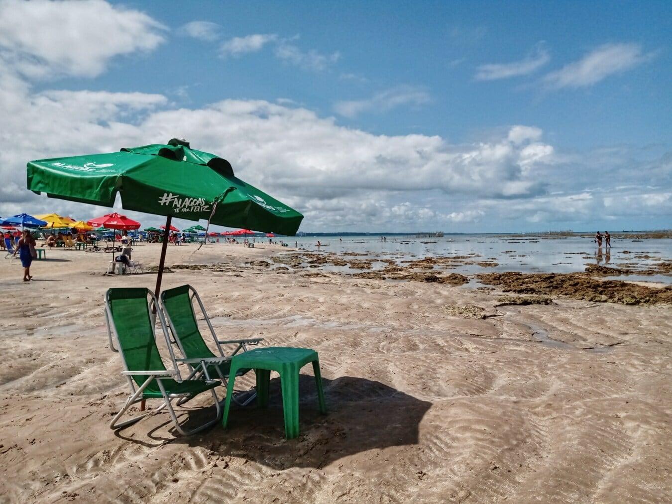 Brésil, plage, l'été, chaises, parasol, attraction touristique, zone de villégiature, Tourisme, eau, sable