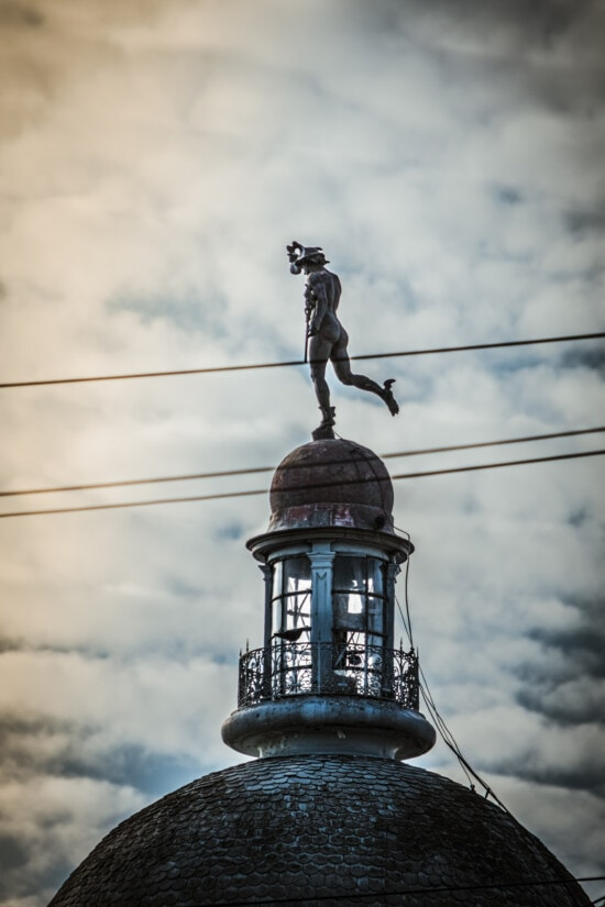 bronze, sculpture, architectural style, victorian, statue, rooftop, roof, dome, landmark, architecture