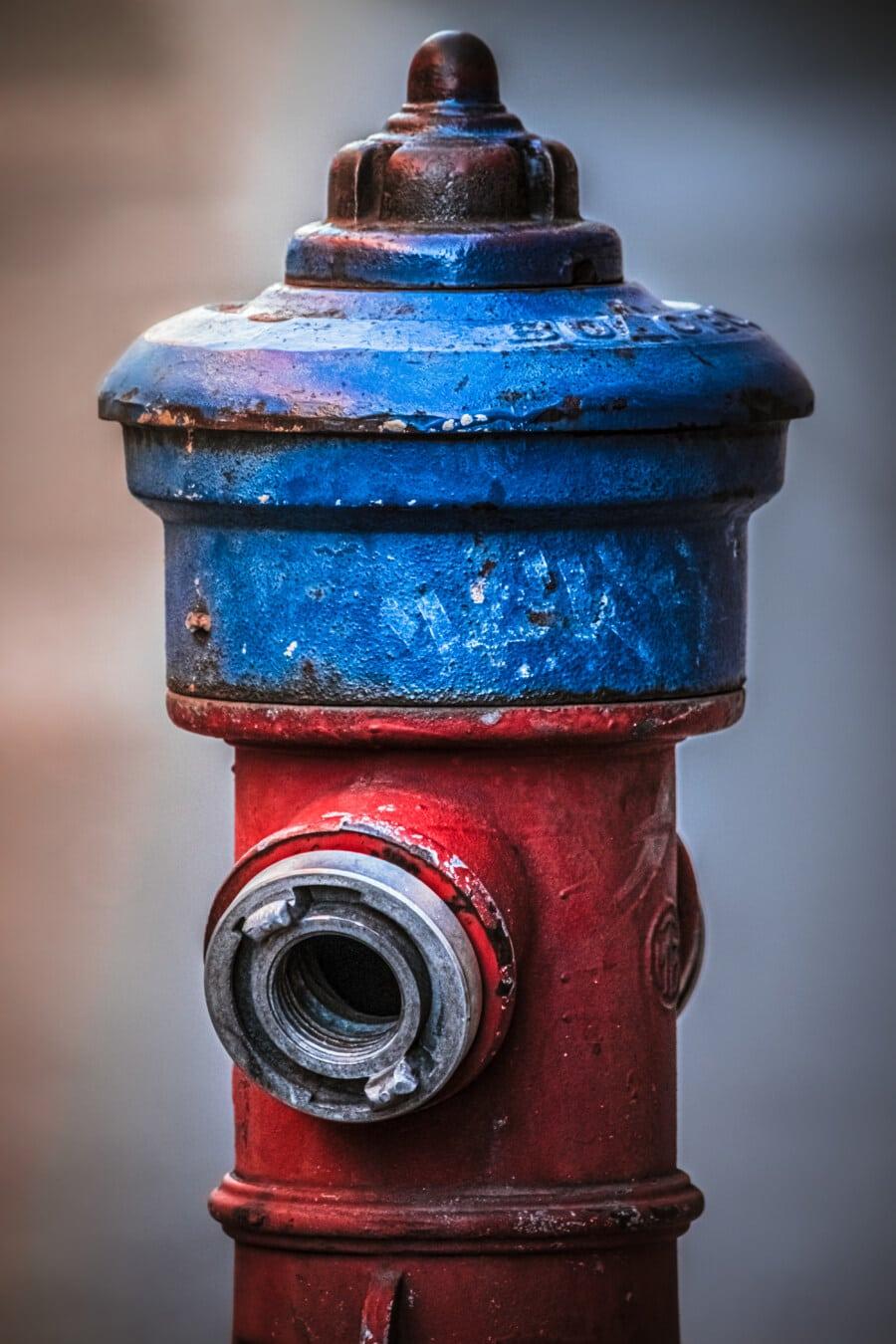 เหล็กหล่อ, สีน้ำเงินเข้ม, ก๊อกน้ำ, เหล็ก, เกิดสนิม, ก๊อกน้ำ, โบราณ, เก่า, ย้อนยุค, วินเทจ