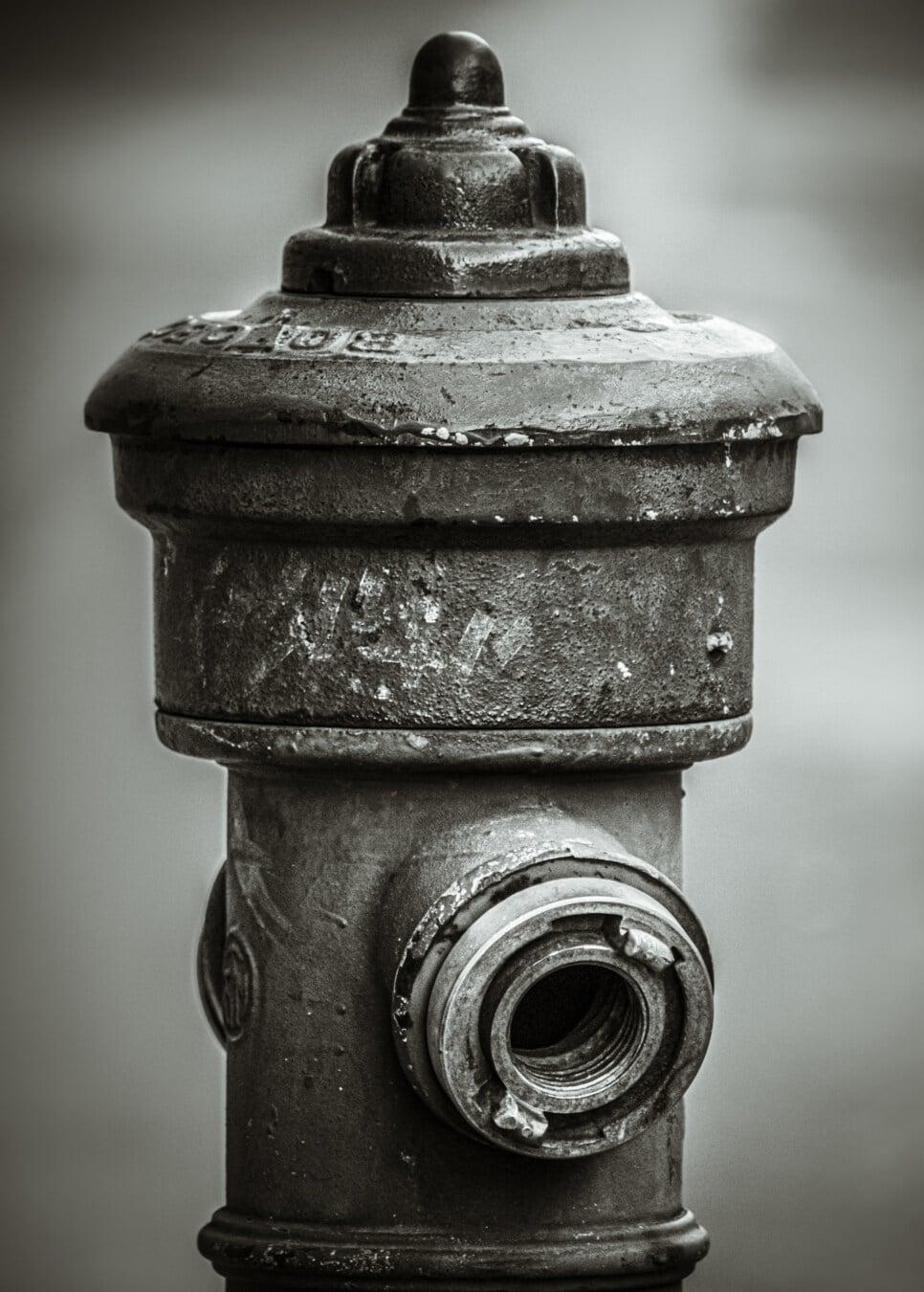 schwarz und weiß, Monochrom, Hydrant, Sepia, aus Gusseisen, Eisen, Gerät, alt, Antik, Jahrgang