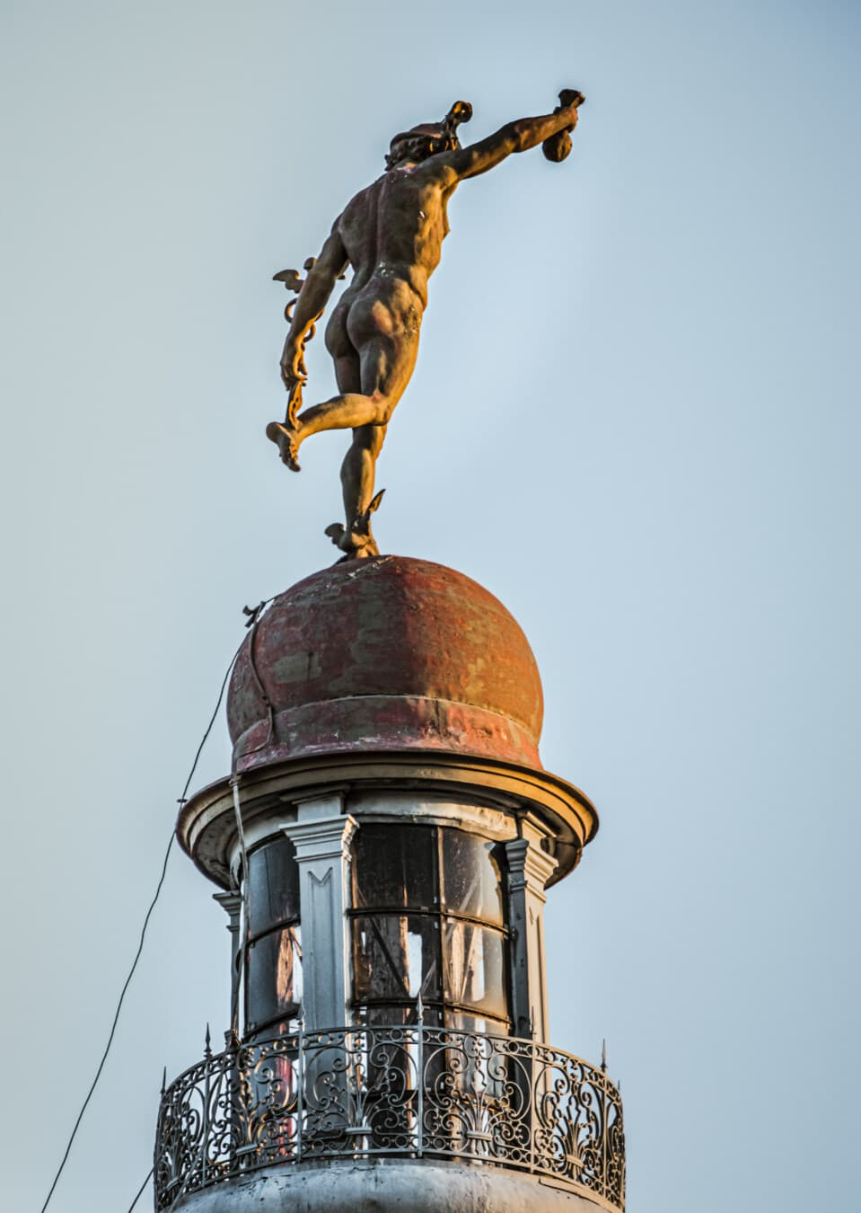 victorian, man, statue, rooftop, roof, bronze, architecture, old, art, outdoors