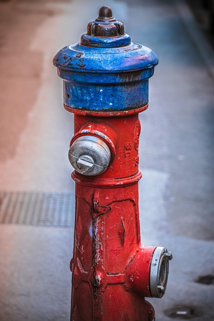 roşu închis, hidrant, până aproape, robinet, presiune, vechi, Antique, retro, oţel, strada