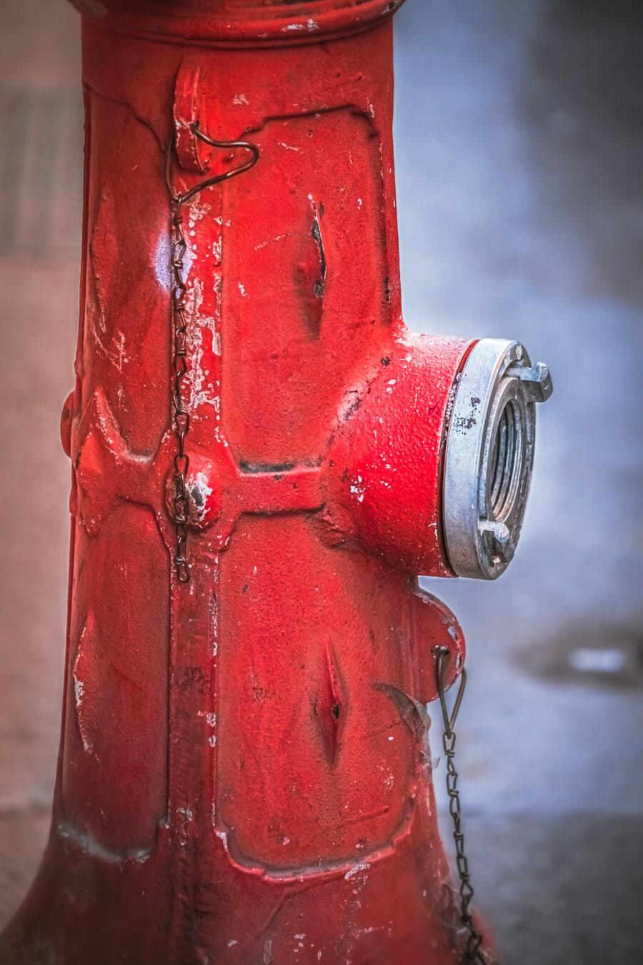 hidrant, din fonta, roşu, vopsea, pompa, vechi, retro, Vintage, robinet, Antique