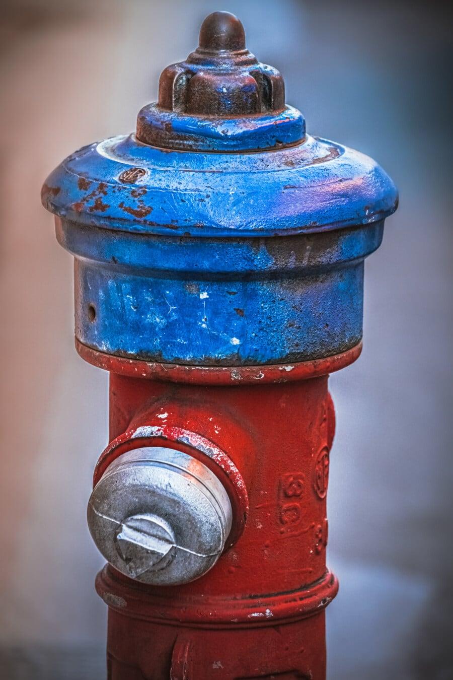 dark blue, hydrant, dark red, object, industrial, cast iron, old, antique, retro, steel