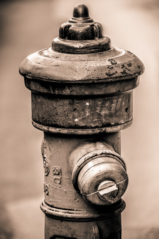 hydrant, old style, rust, cast iron, sepia, industrial, vintage, old, antique, monochrome