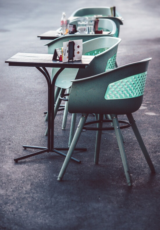 restaurant, pandemic, empty, chair, furniture, table, seat, vintage, street, outdoors