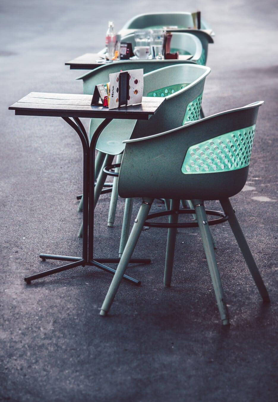 Restaurant, Pandemie, leere, Stuhl, Möbel, Tabelle, Sitz, Jahrgang, Straße, im freien
