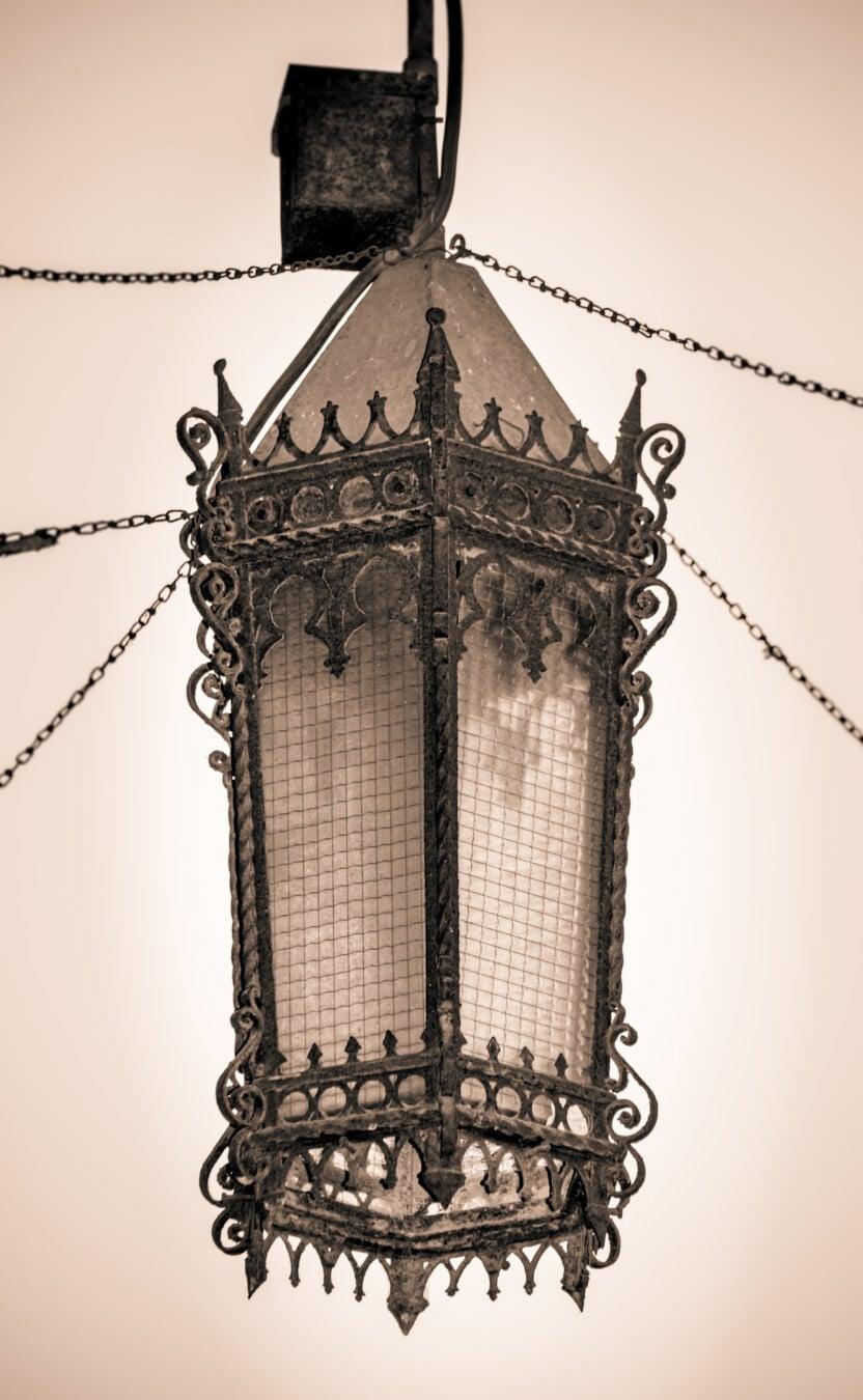 cast iron, lantern, victorian, chandelier, sepia, nostalgia, old style, handmade, vintage, antique