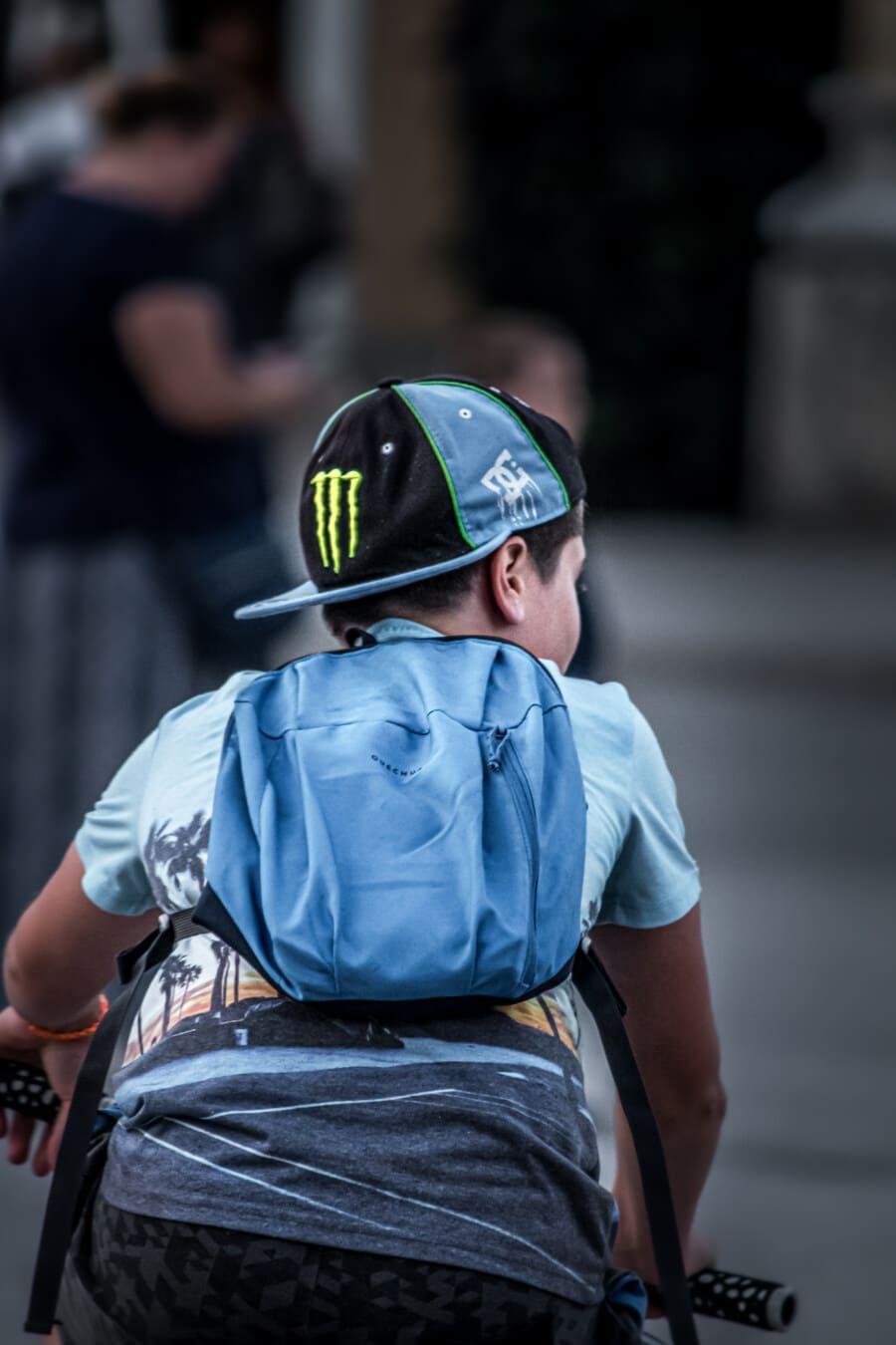 garçon, enfant, au volant, vélo, rue, urbain, à l'extérieur, des loisirs, personne, vêtements