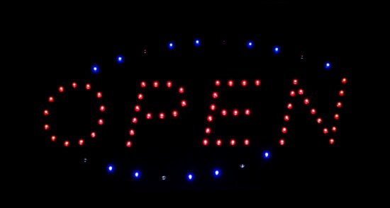 open, sign, neon, text, symbol, shop, light, diode, bright, shining