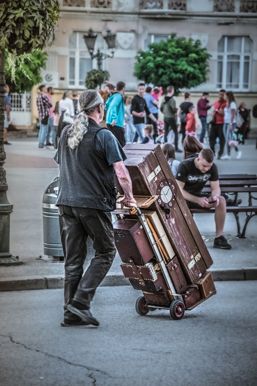 man, baggage, carrier, people, street, city, group, urban, many, tourist