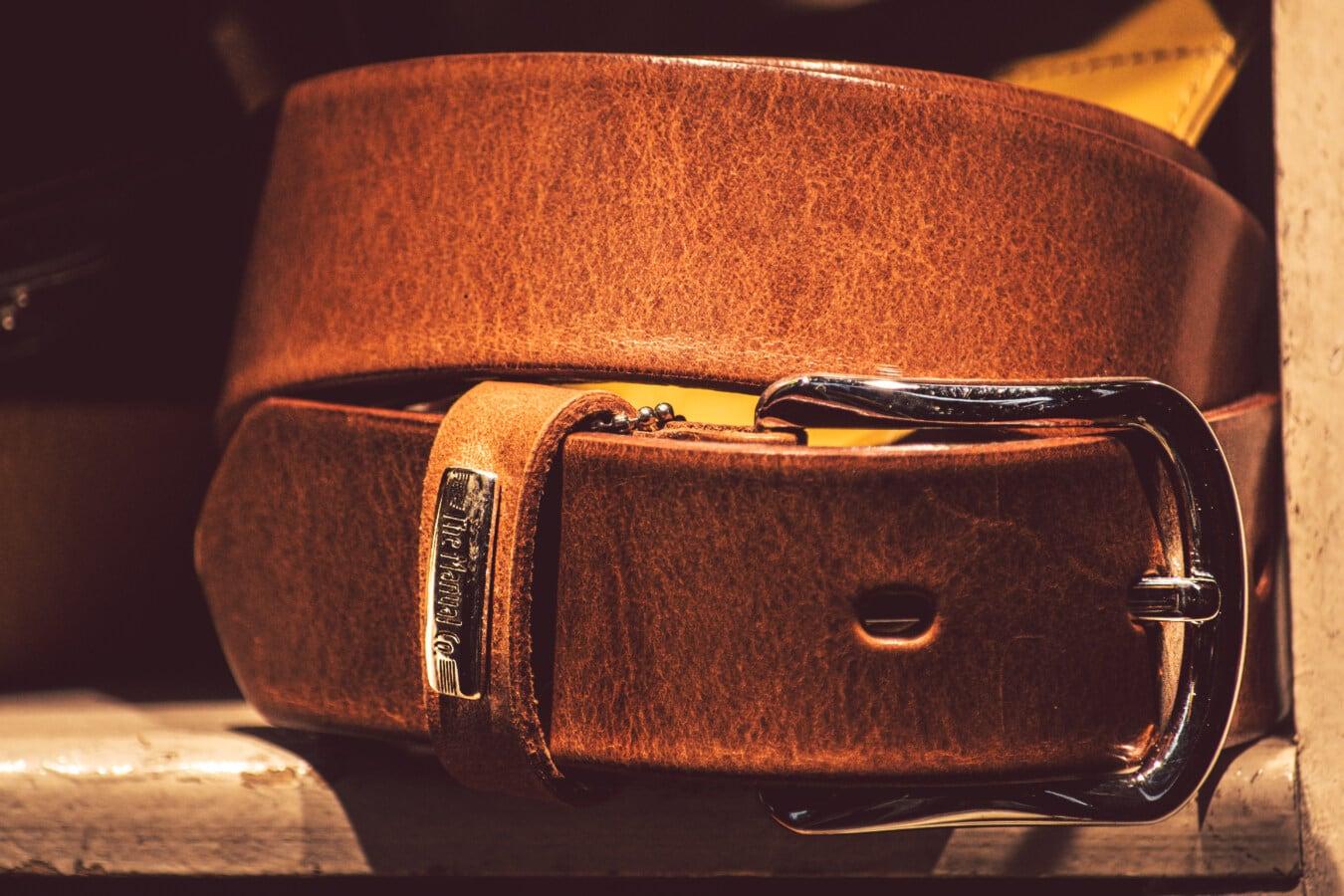 correia, marrom claro, couro, aço inoxidável, fivela, prateleira, vintage, de madeira, moda, retrô