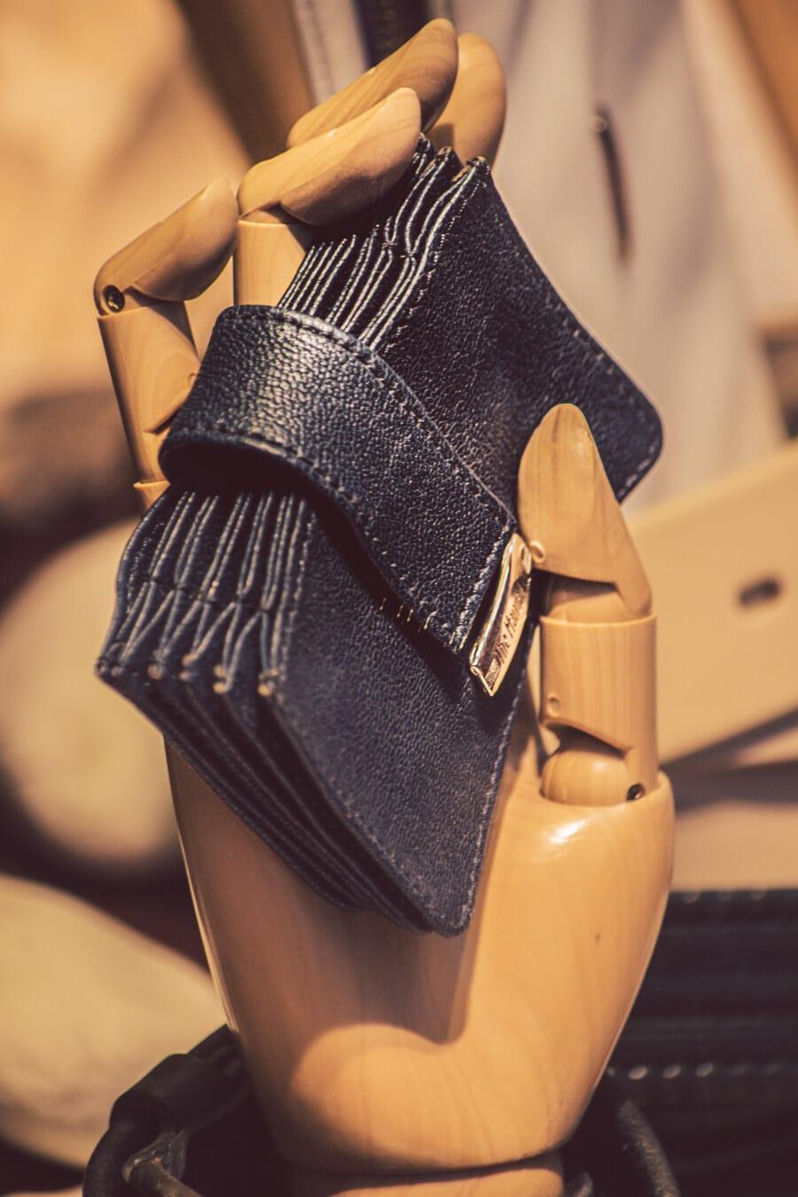 wallet, handmade, merchandise, dark blue, leather, wooden, hand, fashion, luxury, model