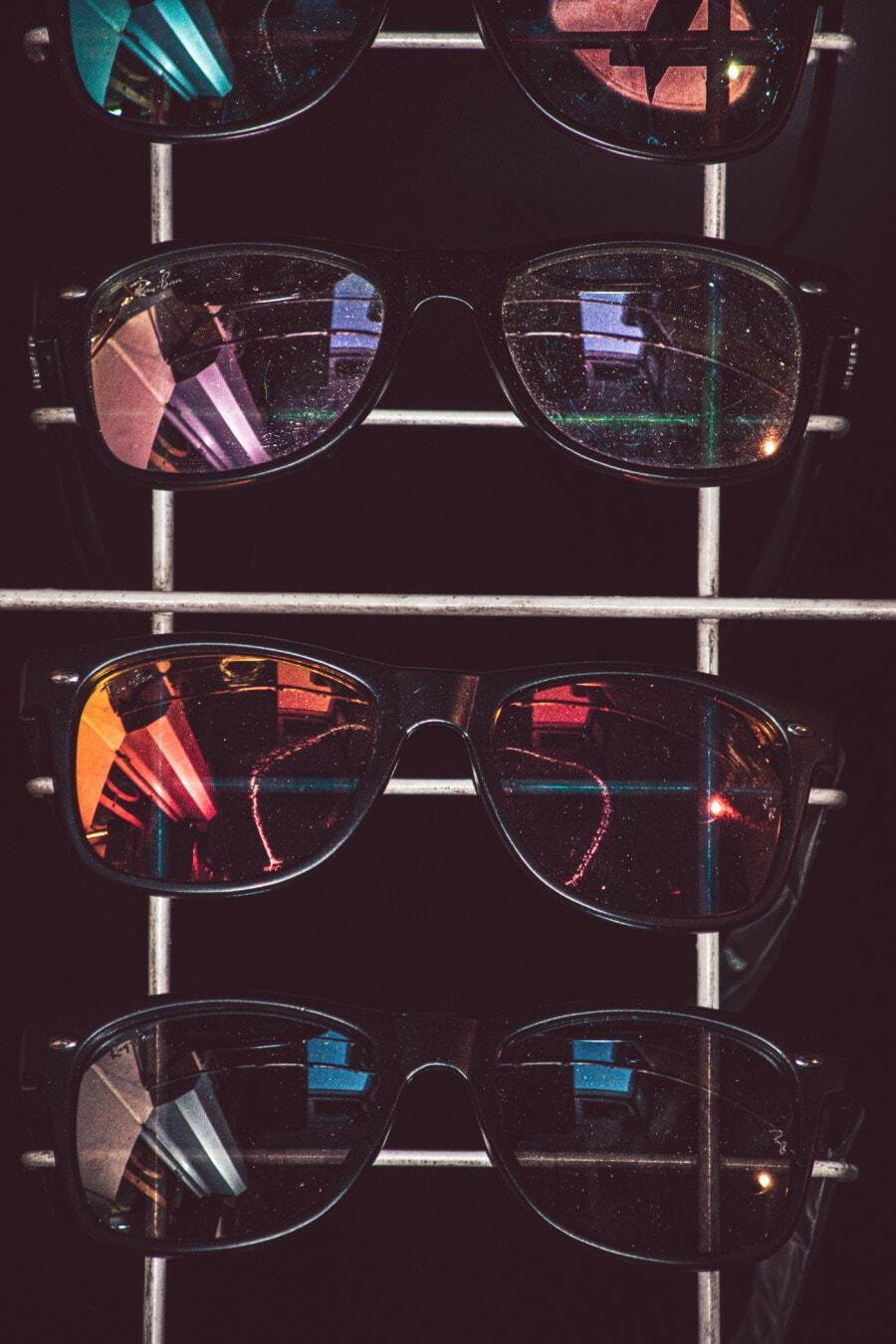 lunettes de vue, moderne, lunettes de soleil, magasin, marchandise, Shopping, produits, conception, lumière, art